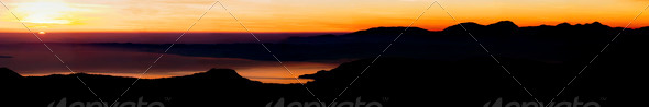 Lake Garda at Sunset, Italy - Stock Photo - Images