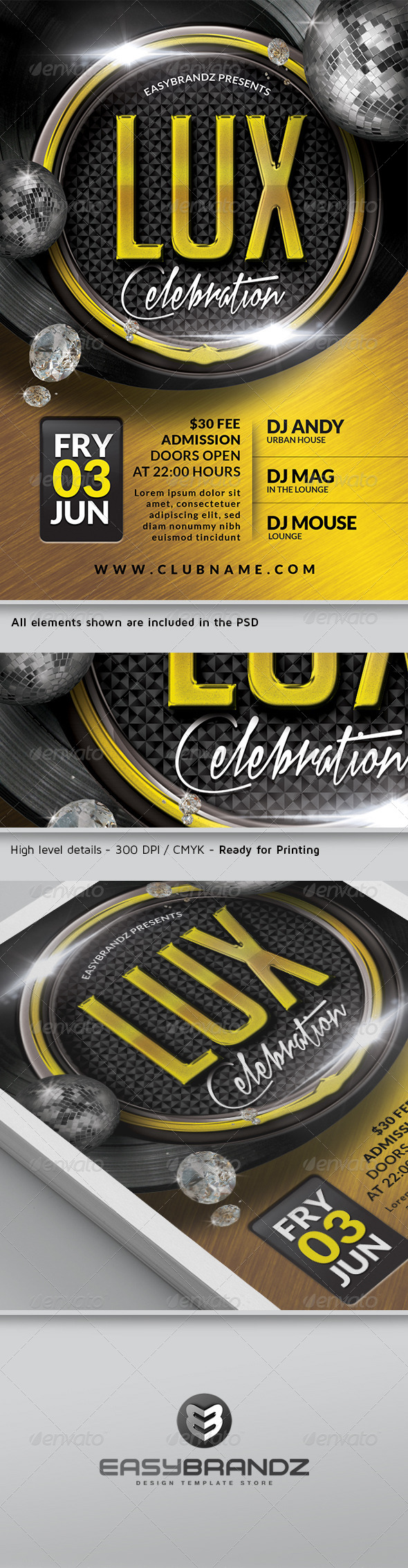 Lux Celebration Flyer Template - Events Flyers