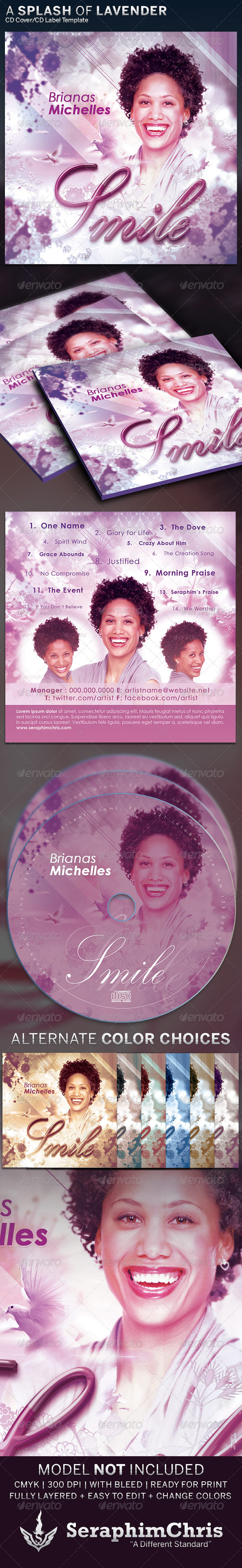 A Splash of Lavender CD Insert and Label - CD & DVD Artwork Print Templates