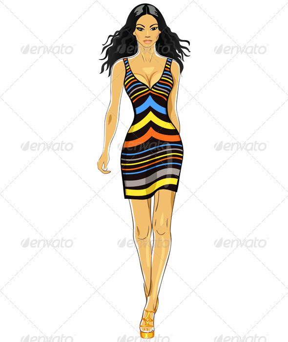 Vector beautiful Asian girl in a striped dress - People Characters