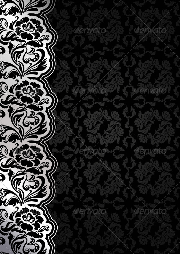 Floral Black Background with Lace by ecelop | GraphicRiver