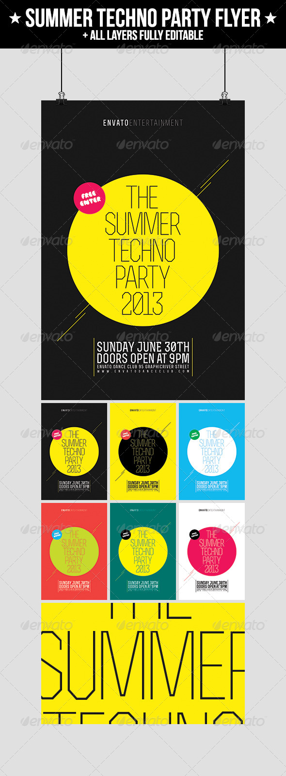 Summer Techno Party Flyer - Clubs & Parties Events