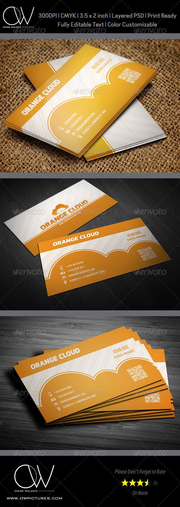 Orange Cloud Business Card - Business Cards Print Templates