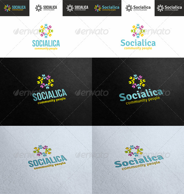 Socialica - Community People Logo - Humans Logo Templates