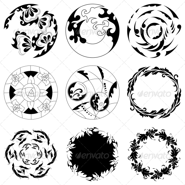Circular Floral Designs - Vector Pack - Flowers & Plants Nature