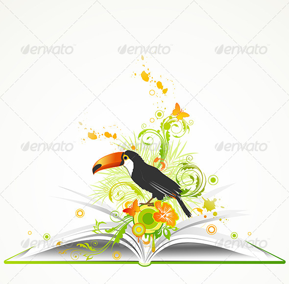 Open Book with Flowers and Tropical Bird - Animals Characters