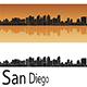 San Diego Skyline in Orange Background - GraphicRiver Item for Sale