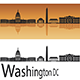 Washington DC Skyline in Orange Background - GraphicRiver Item for Sale