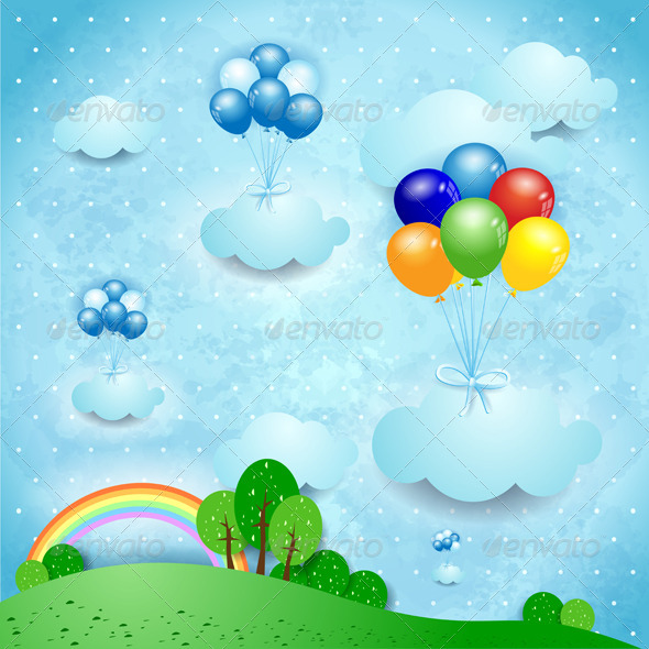 Fantasy Landscape with Balloons - Landscapes Nature