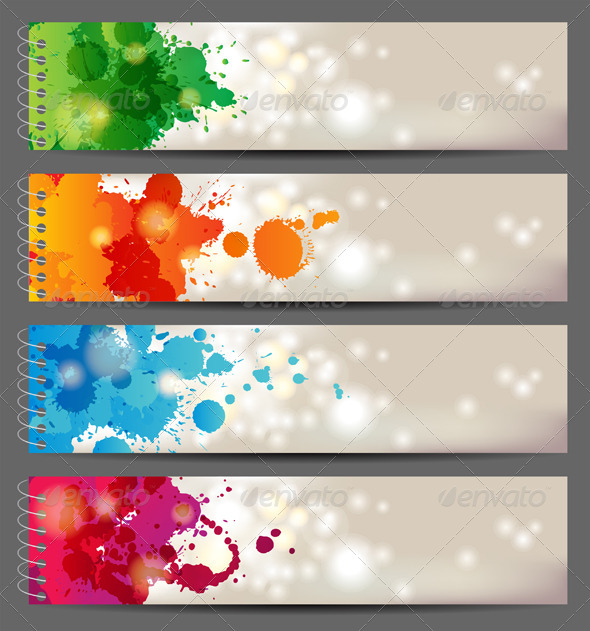 Banners with Splashing Paints - Abstract Conceptual