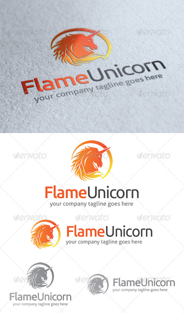 Flame Unicorn Logo - Animals Logo Templates