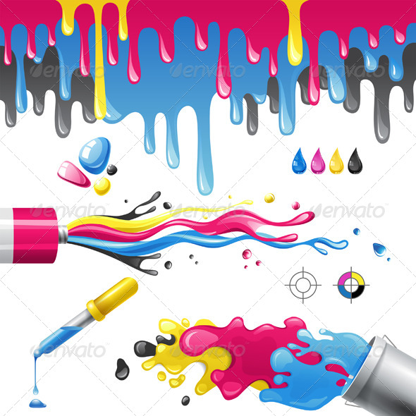 CMYK Splashes - Abstract Conceptual
