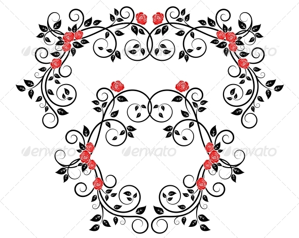 Roses on Floral Frame and Border - Flourishes / Swirls Decorative