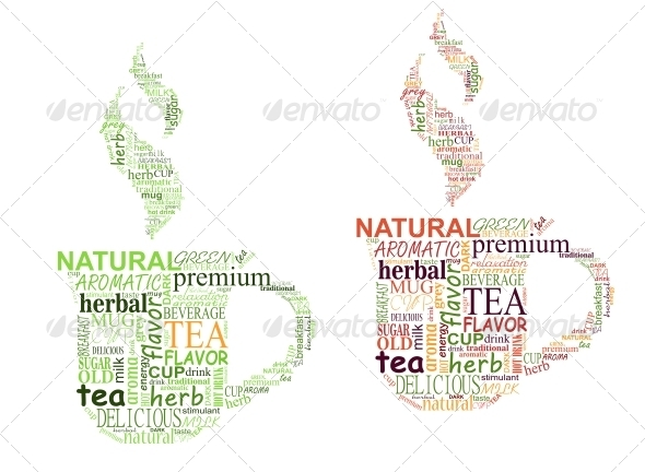 Tea Tags Cloud with Cup Shape - Miscellaneous Vectors