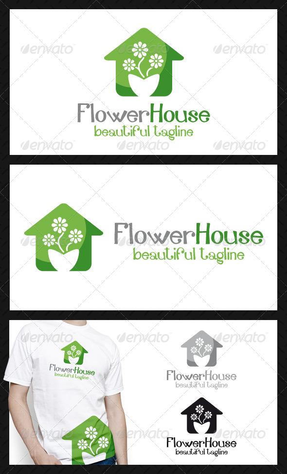 Flower House Logo Template - Buildings Logo Templates