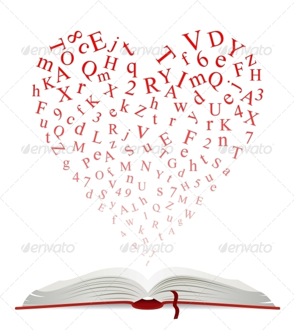 Open Book with Heart of Letters - Miscellaneous Conceptual