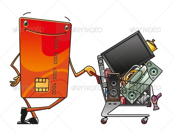 Credit Card with Shopping Cart of Electronics - Retail Commercial / Shopping