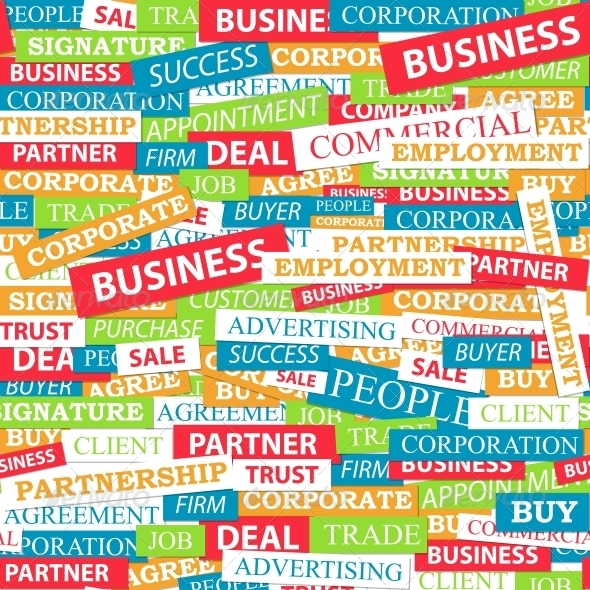 Seamless Pattern Composed of Words  - Concepts Business