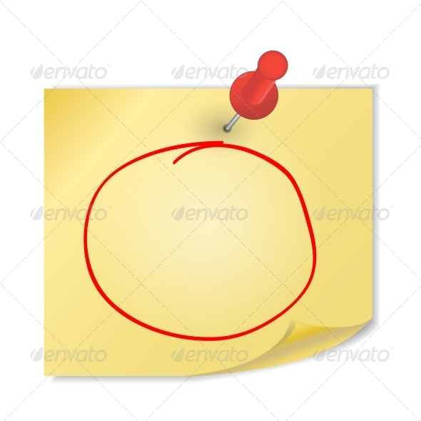 Yellow Paper with Pin on White Background Vector - Miscellaneous Vectors