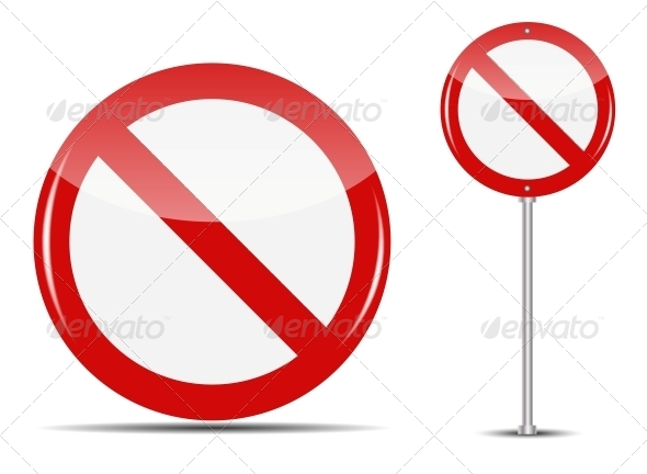Vector Traffic Sign Isolated on White Background - Web Technology