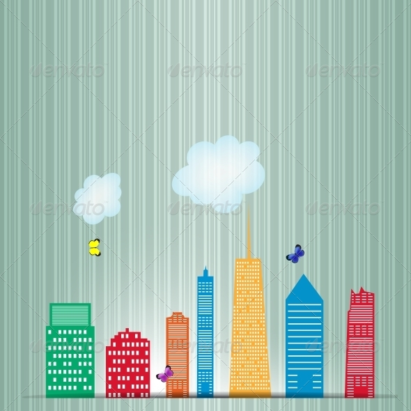 Vector Illustration of Cities Silhouette - Buildings Objects