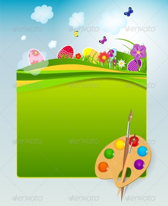 Vector Illustration Background with Easter Eggs - Seasons Nature