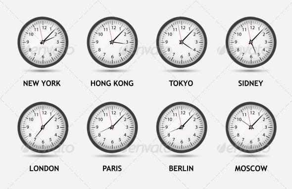 Time Zone World Vector Illustration - Web Technology