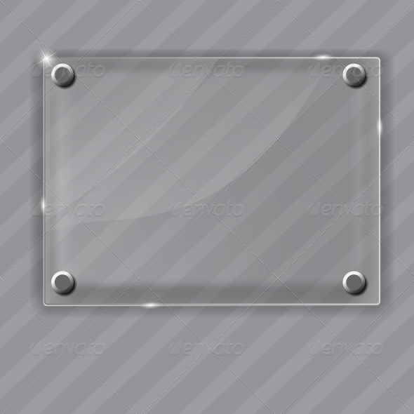 Glass Frame on Abstract Metal Background.  - Backgrounds Decorative