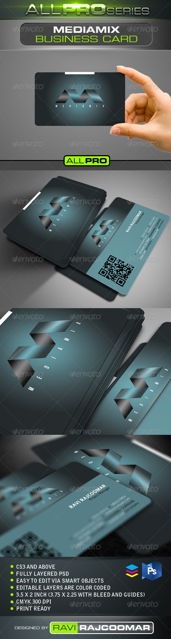 Mediamix Business Card Template - Corporate Business Cards