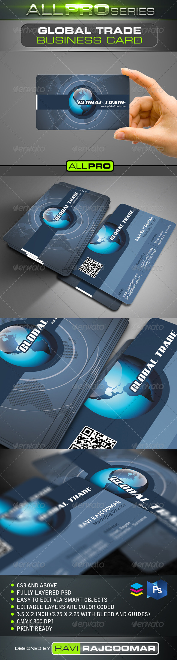 Global Trade Business Card - Corporate Business Cards
