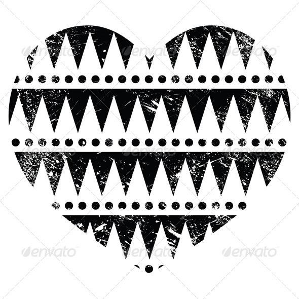 Aztec Tribal Pattern Heart - Retro, Grunge Style - Patterns Decorative