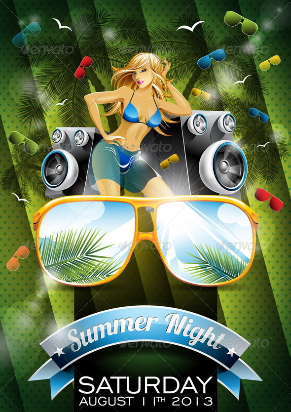Summer Beach Party Flyer Design with Girl - People Characters