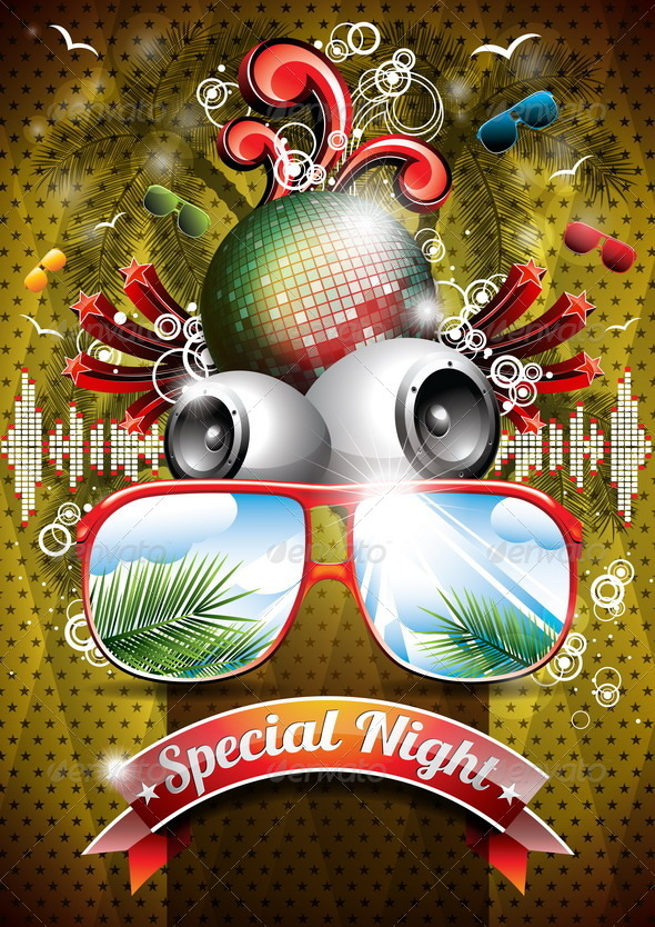Summer Beach Party Flyer Design with Disco Ball - Miscellaneous Characters