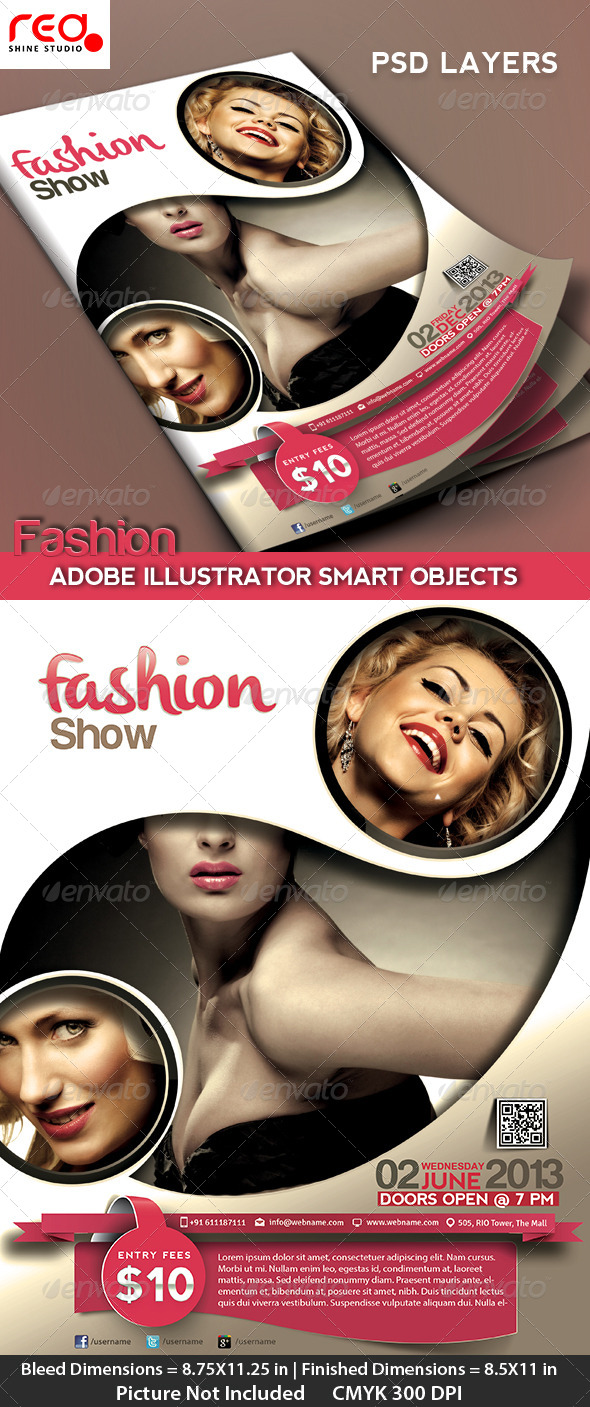 Fashion Event Flyer, Poster & Magazine Template - Clubs & Parties Events