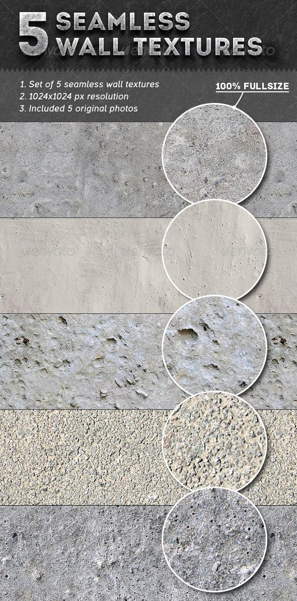 5 Seamless Wall Textures - Concrete Textures