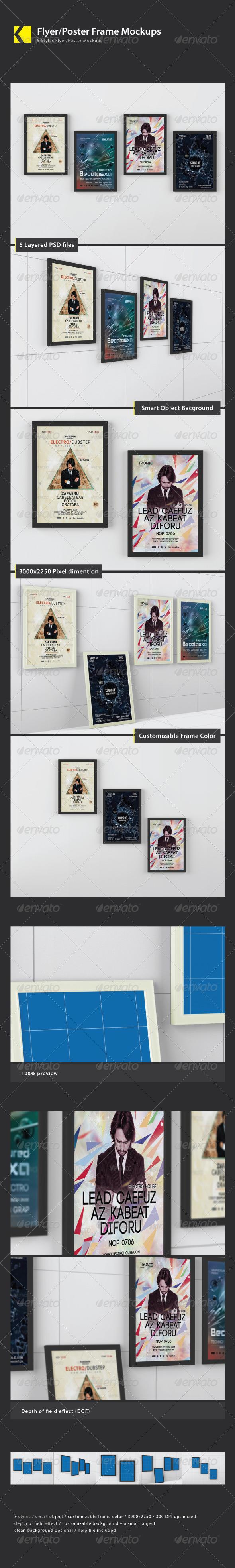 Flyer/Poster Frame Mockups - Product Mock-Ups Graphics