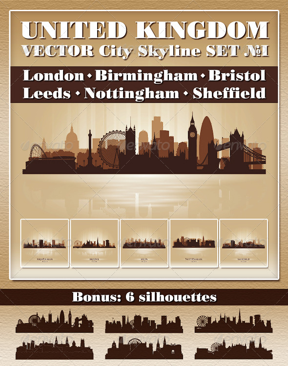 Vector City Skyline. United Kingdom. Set Number 1 - Buildings Objects