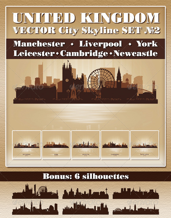 Vector City Skyline. United Kingdom. Set Number 2 - Buildings Objects