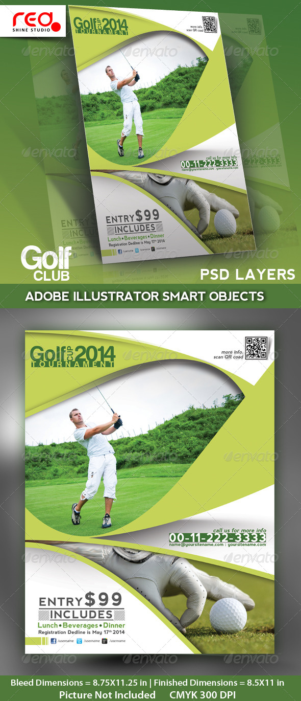 Golf Club Flyer, Poster & Magzine Template - Sports Events