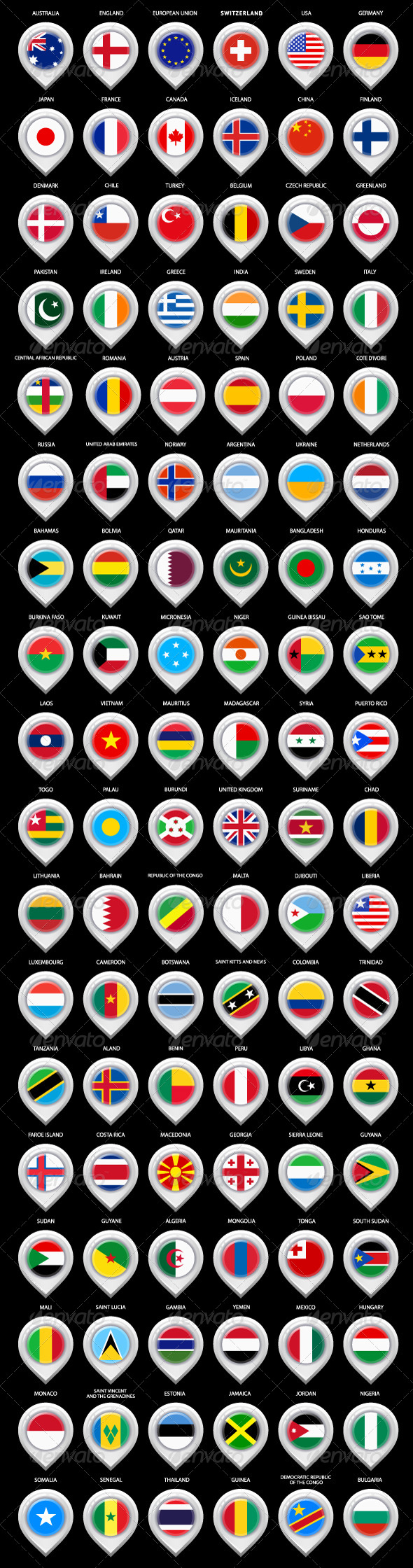 108 Map Pins with Flags - Travel Conceptual