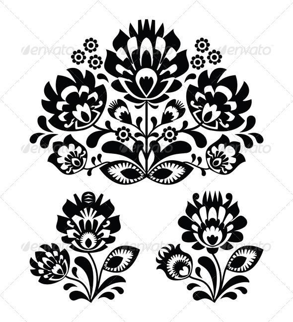Folk Embroidery with Flowers - Traditional Polish  - Flourishes / Swirls Decorative