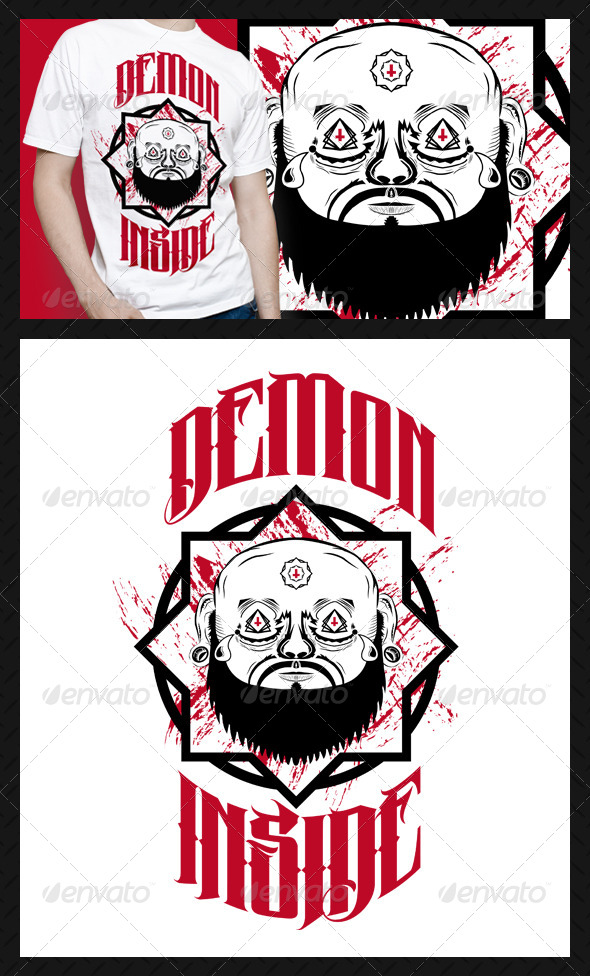 Demon Inside T-Shirt Design - Grunge Designs