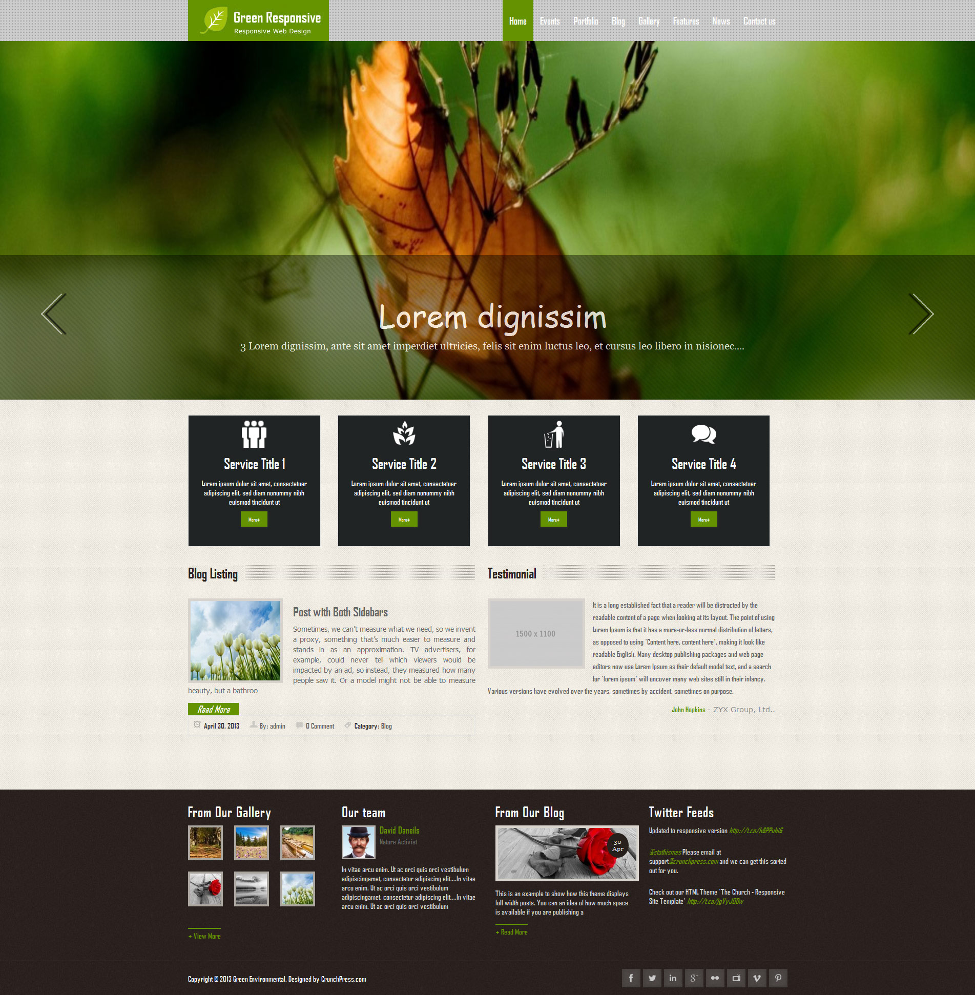 Green Responsive WordPress Theme By CrunchPress ThemeForest - Website templates wordpress