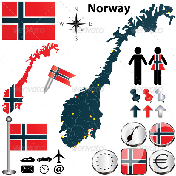 Map of Norway - Travel Conceptual