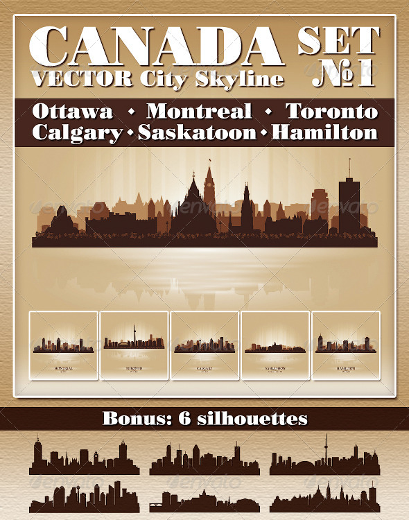 Vector City Skyline Canada Set Number 1 - Buildings Objects