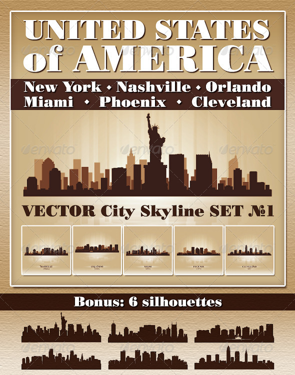 Vector City Skyline USA Set Number 1 - Buildings Objects