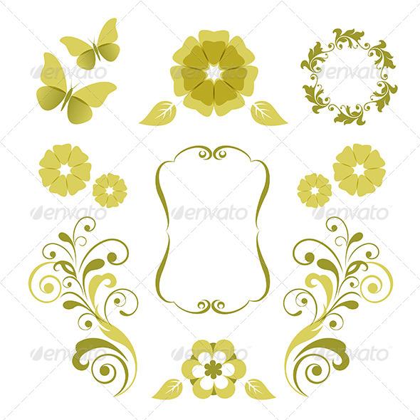 Floral Design Elements - Decorative Symbols Decorative