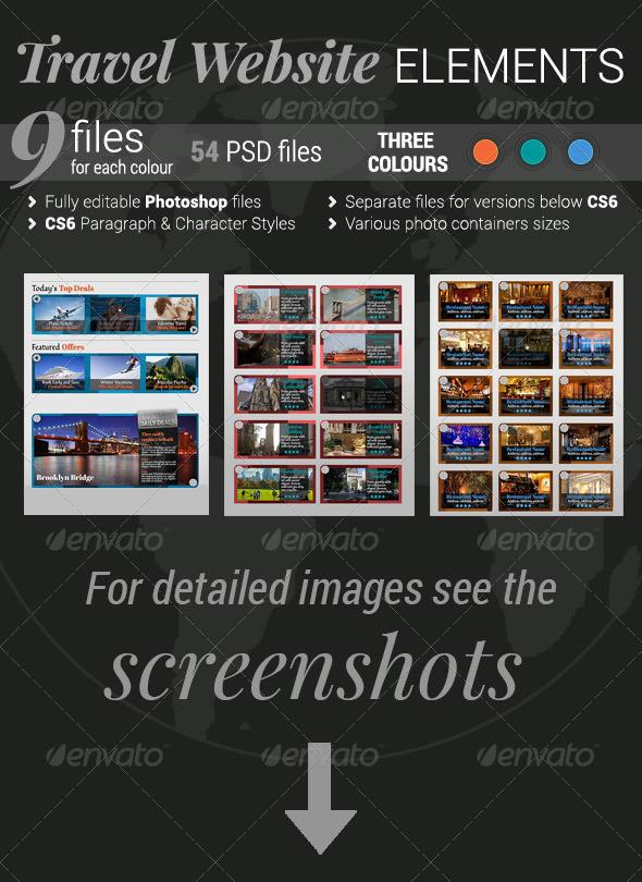 Travel Website Elements - Sliders & Features Web Elements