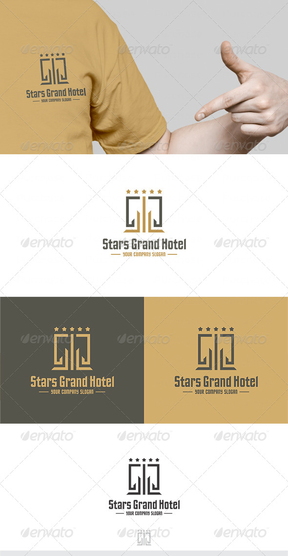 Stars Grand Hotel Logo - Buildings Logo Templates
