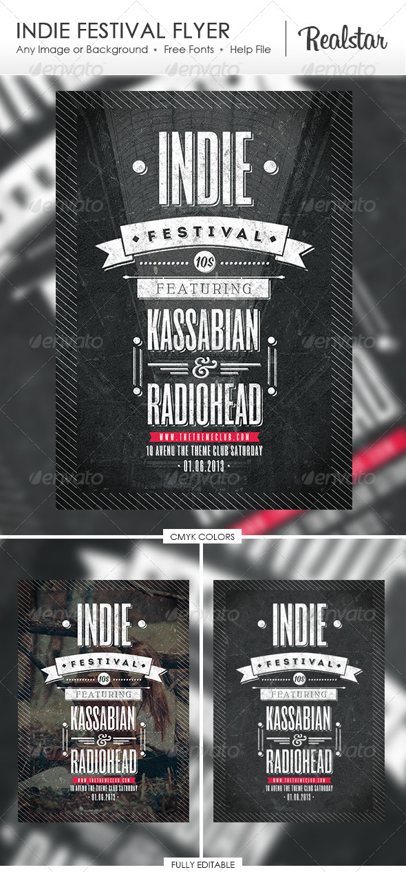 Indie Festival Flyer - Clubs & Parties Events